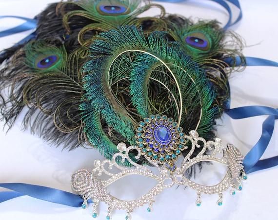 Crystal Peacock Feather Masquerade Mask fifty Shades Phantom Mardi Gras Boudoir Sexy Burlesque Rhinestone Bridal Mask Bachelorette Hen Party