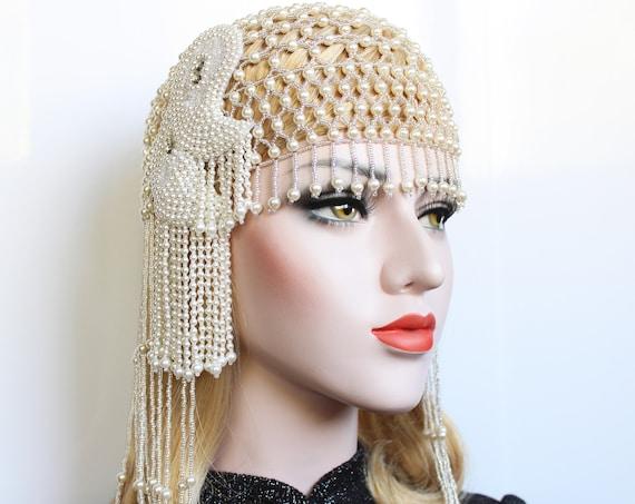 Pearl Gatsby Beaded Cap Art Deco Wedding Headpiece for 1920s Wedding Dress Vintage style Downton Abbey Pearl headpiece Gatsby flapper Girl
