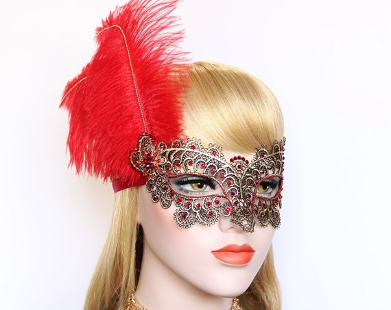 Masquerade Mask Gold Red Feather Mask fifty Shades Phantom Mardi Gras Boudoir Sexy Swarovski Crystal Mask Bachelorette Hen Party Gala