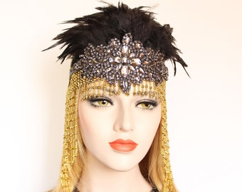 Black Gold Gatsby Headpiece 20s Soiree Flapper Beaded Cap Art Deco Hair Piece Gatsby Dress Bachelorette Feather Flapper Headpiece