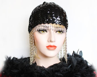 Black Gatsby Headpiece Roaring 20s Beaded Cap Silver Sequin Flapper Headpiece Downton Abbey Bridal Headpiece for Gatsby Wedding Dress