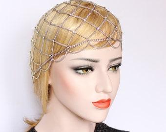 Silver Crystal Headpiece Gatsby Wedding hair piece 1920s Dress Bridal Head Chain headdress Hair Jewelry Bridesmaid Prom hair accessories