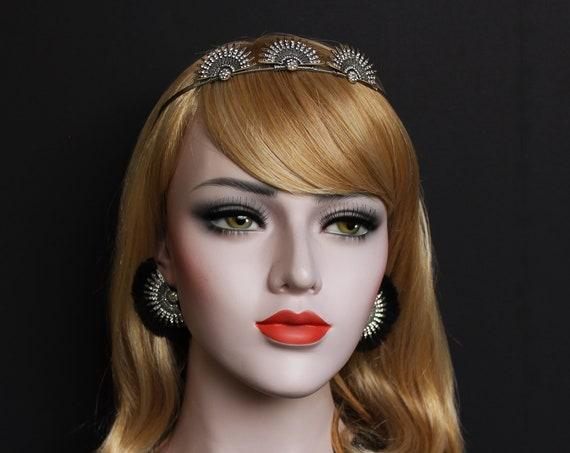 Silver Art Deco Celestial Earrings 1920s Star Fringe Earrings Crystal Starburst Earrings Great Gatsby Wedding Sunburst Avant garde
