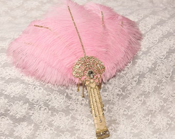 Pink Gold Ostrich Feather Fan brooch Bouquet Great Gatsby Wedding Dress Vintage 1920s Feather Fan Bouquet art deco wedding Roaring 20s