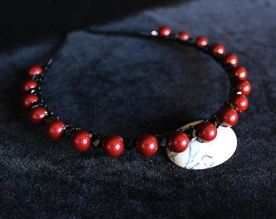 Bordeaux Swarovski Pearl Headband Red Black Gothic Bridal headband Wired pearl Wedding Crown Red Crystal Bridal headpiece Wedding Tiara
