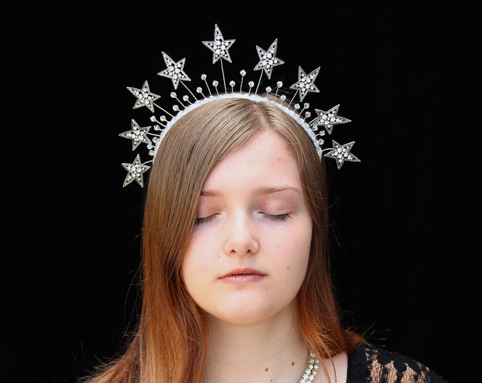 Featured listing image: Star Crown Silver Celestial Headpiece Celestial Crown Crystal Bridal Headpiece Wedding Star Halo Headdress Silver Stars Headband Prom