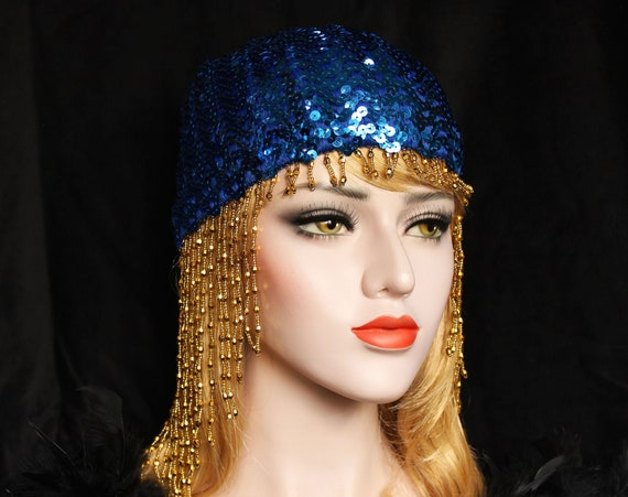 Blue Gatsby Headpiece Roaring 20s Sequin Beaded Cap Art Deco Gold Flapper Headpiece Downton Abbey Bridal Headpiece for Gatsby Wedding Dress