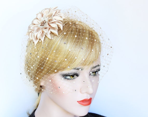 Floral Birdcage Veil with pearls Dahlia Wedding Hair clip Bridal Fascinator French net Crystal Blusher Veil Wedding Bird Cage veil