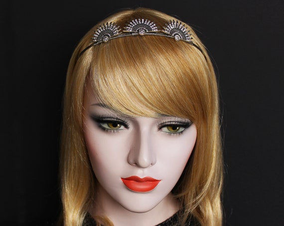 Silver Art Deco Celestial Crown Starburst Earrings Great Gatsby Headpiece Sunburst Halo Headband Star Bridal Tiara Wedding Headpiece