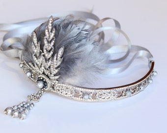 Silver Gatsby Headpiece Flapper Headband for 1920s Gatsby Dress Roaring 20s headband Custom Bridal Headpiece Downton Abbey Bachelorette