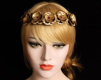 Rustic Flower Crown Floral Bridal Tiara Swarovski Halo Gold Floral hair Wreath Wedding Flower Headband Goddess Headpiece wedding dress