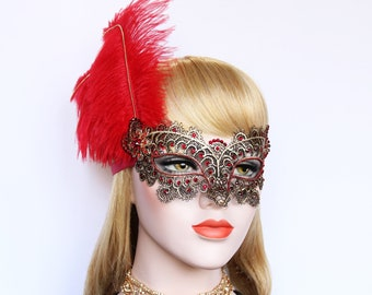 Masquerade Mask Gold Red Feather Mask fifty Shades Phantom Mardi Gras Boudoir Sexy Swarovski Crystal Mask Bachelorette Hen Party Gala