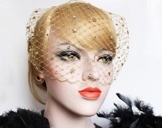Star Veil Celestial Wedding Birdcage veil Gold 1920s Gatsby Headpiece Swarovski Crystal Starburst Bandeau Veil 20s wedding dress Veil