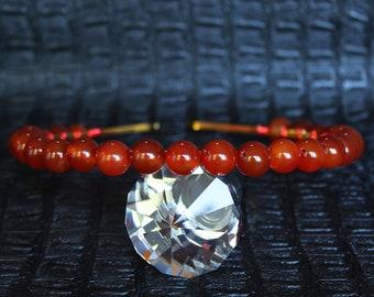 Red Orange Carnelian Crystal Tiara Bridal Gemstone Crown Crystal Wedding headpiece Autumn Tiara Crystal Halo Crown Aura Carnelian Headpiece