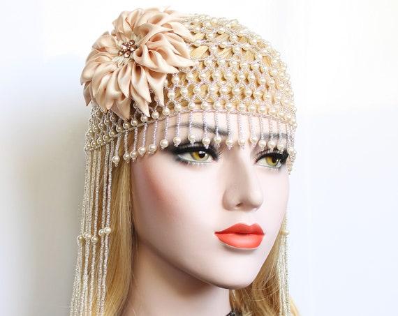 1920s Gatsby Wedding Headpiece vintage Dahlia Pearl Beaded Cap Downton Abbey headpiece great Gatsby flapper roaring 20s Gatsby Wedding dress