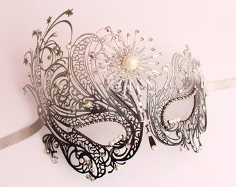 Celestial Masquerade Mask Silver Galaxy STAR mask Starburst Mask for Costume Sexy Crystal mask for Masked Ball Bachelorette Hen Party