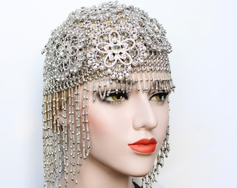 Gatsby 1920s Crystal Wedding Headpiece for roaring 20s Gatsby dress Bridal Headdress Silver Flapper Fully Beaded Cap Bachelorette Hen Party