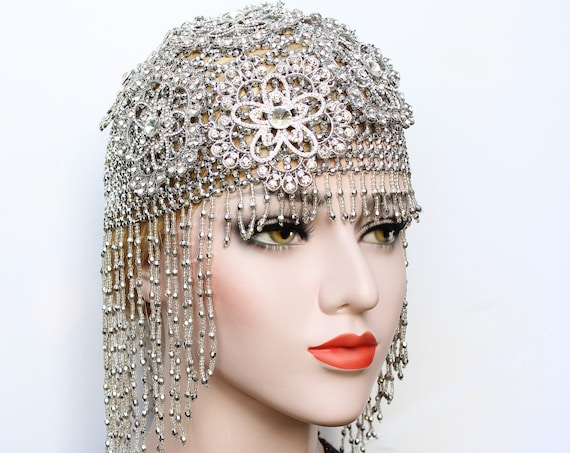 Gatsby 1920s Crystal Wedding Headpiece for roaring 20s Gatsby dress Bridal Headdress Silver Flapper Fully Beaded Cap Bachelorette Hen Party