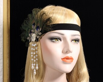 Natural Peacock Great Gatsby Headband | bridal wedding headpiece flapper headband flapper dress gatsby dress feather headpiece