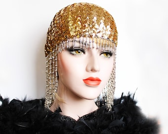 Silver Gatsby Headpiece Roaring 20s Beaded Cap Sequin Flapper Headpiece Downton Abbey Bridal Headpiece for Gatsby Wedding Dress
