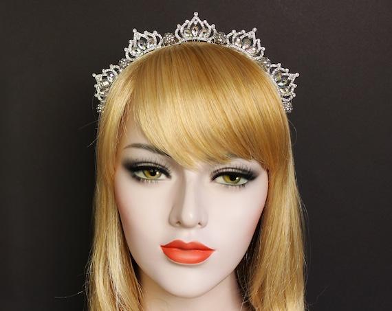 Silver Princess Tiara Bridal Crown Wired Halo Headband Rhinestone Wedding Headpiece Silver Headband