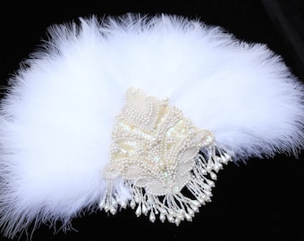 Gatsby Feather Fan Vintage 1920s Wedding Feather Bouquet Bride Bridal Alternative Bouquet Roaring 20s hand fan Bachelorette Hen Party Prom
