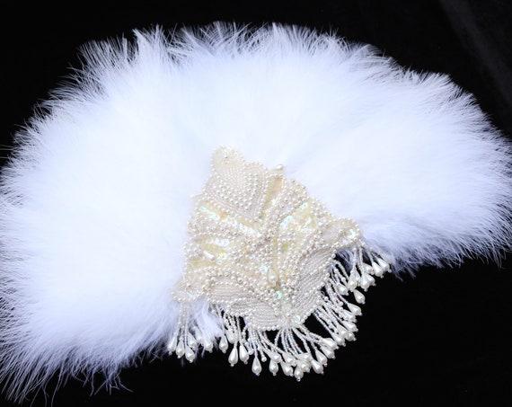 Gatsby Feather Fan Vintage 1920s Wedding Feather Bouquet Bride Bridal Alternative Bouquet Roaring 20s hand fan Bachelorette Hen Party Prom