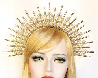 Gold Lace Halo Crown Headpiece Goddess Spike Headband Virgin Mary Bridal Crown Starburst Headdress Festival Burning Man Costume