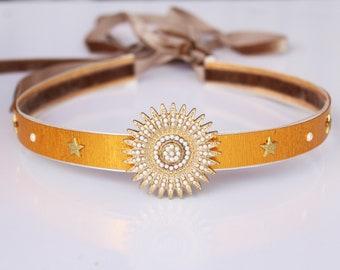 Gold Celestial Crown Sunburst Goddess Halo Starburst Crown Bridal Circlet Gold Stars Vintage Tiara Wedding Headpiece Theater Prop