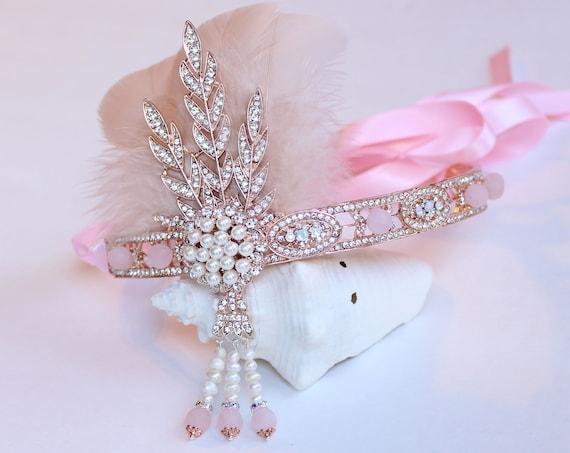 Great Gatsby headpiece Rose Gold Flapper Headband Gatsby Dress Rose Quartz Wedding headpiece Roaring 20s 1920s Bachelorette Hen party