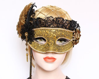 Gold Masquerade Mask for Masked ball Bridal Feather stick mask Mardi Gras fifty shades Wedding Prom Bachelorette Party Birthday Gift