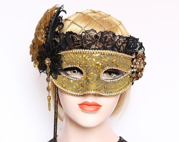 Gold Black Masquerade Mask Bridal Feather stick mask Mardi Gras Masked ball fifty shades Wedding Prom Bachelorette Party Birthday Gift