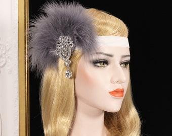 Gray 1920s Gatsby Headpiece bridal wedding headpiece flapper headband flapper dress gatsby dress feather headpiece Bachelorette Hen party