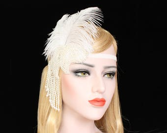 1920s Gatsby Feather Headband | Gatsby Wedding Headpiece Roaring 20s beaded Flapper Feather Headband Bridal Bachelorette hen Party