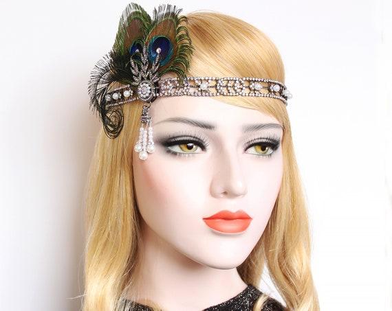 Art Deco Gatsby headpiece Roaring 20s Headband Daisy Flapper Bridal 1920s Wedding Dress Bridal Headpiece Downton Abbey Bridesmaid Gala
