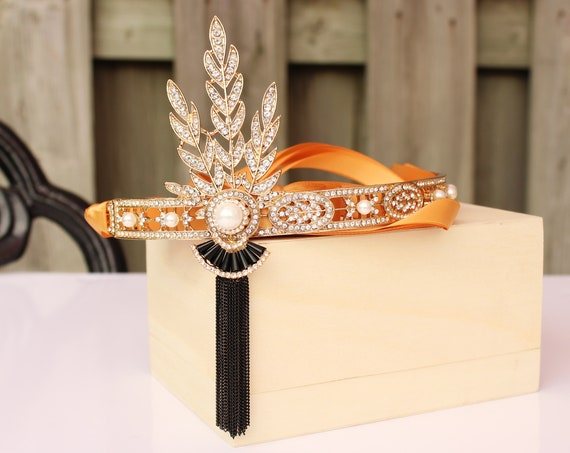 1920s Gatsby Headpiece Gold black Wedding Headband Flapper Bridal Headpiece for Roaring 20s Wedding Dress Bachelorette Prom Gatsby Party