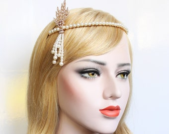 Gold Gatsby Headpiece 1920s Wedding Headband Pearl Bridal Tiara Downton Abbey Great Gatsby Tassel headband for Bride Bridesmaids Prom