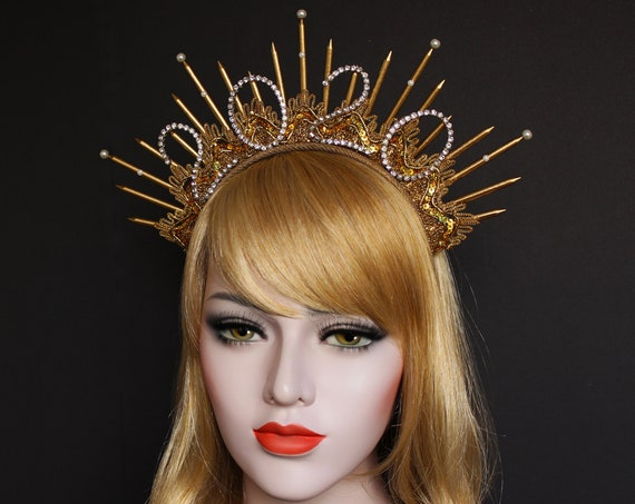 2021 NEW YEAR Halo Crown Choose up to 6 Characters Celestial Headpiece Star Crown Goddess Bridal Starburst Crown Sunburst Spike Headband