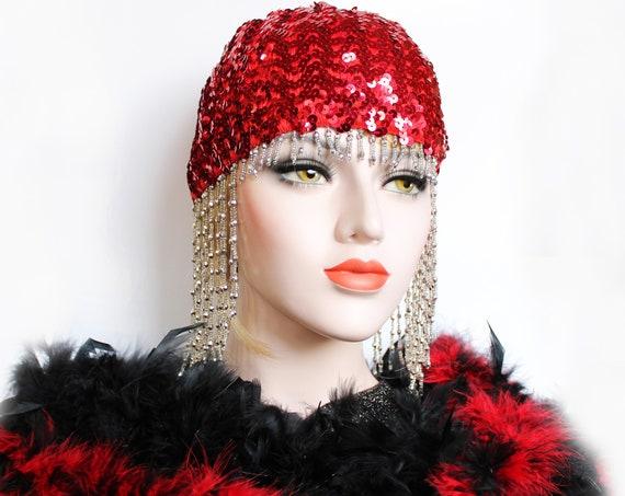 Red Gatsby Headpiece Roaring 20s Beaded Cap Sequin Silver Flapper Headpiece Downton Abbey Bridal Headpiece for Gatsby Wedding Dress