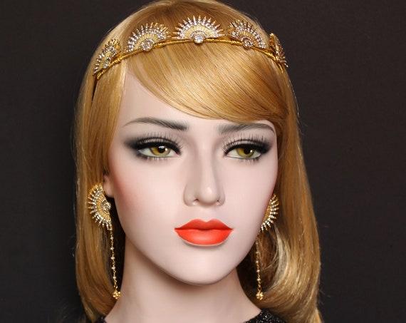 Gold 1920s Celestial Crown Star Earrings Great Gatsby Sunburst Halo Headpiece Star Bridal Tiara Starburst Wedding Headpiece Spike Headband