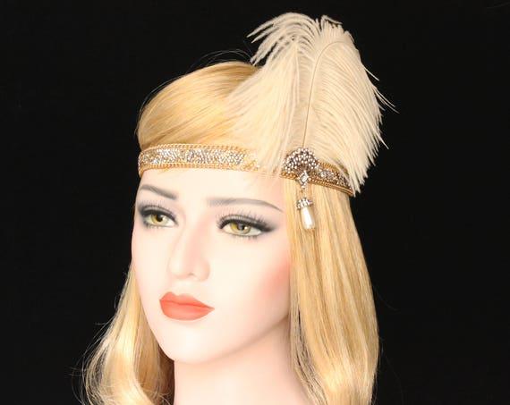 1920s Flapper Headband | Roaring 20s headpiece Ivory Gold Gatsby feather flapper headband Flapper girl Gatsby dress Bachelorette Hen Party