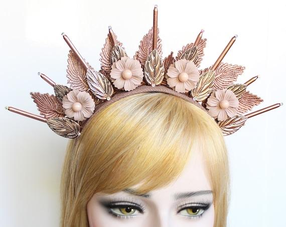 Rose Gold Goddess Crown Lace Halo Crown Flower Headpiece Spike Headband Virgin Mary Bridal Crown Starburst Headdress Burning Man Costume