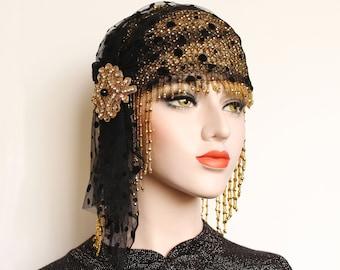 Gatsby Headpiece Black Gold 1920s Gatsby Dress Flapper Headpiece roaring 20s Juliet Cap Wedding Veil Beaded Cap Gatsby 1920s Birthday Party