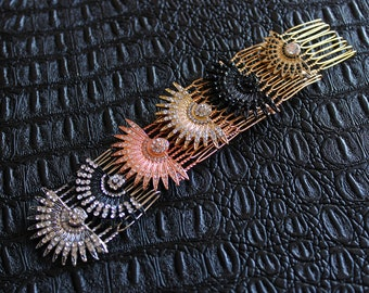 Celestial Hair comb Starburst Headpiece Art Deco Bridal Comb Star Wedding Sunburst Hair pins Celestial Wedding Silver Gold Hair Accessories