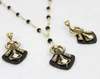Art Deco Necklace Black Gold Gatsby Earrings 1920s Wedding Jewelry Set Geometric Necklace Earrings Unique Jewelry Statement Bridal Jewelry