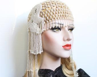 Pearl Gatsby Headpiece 1920s Beaded Cap Wedding Headpiece roaring 20s dress Vintage style Downton Abbey Pearl headpiece Gatsby flapper Girl