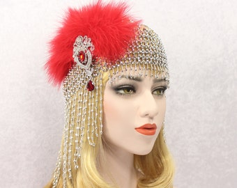 1920s GATSBY Headpiece Beaded Cap Flapper Wedding Dress Feather Headpiece Art Deco Hair Piece Gatsby Dress Bachelorette Hen Party Prom