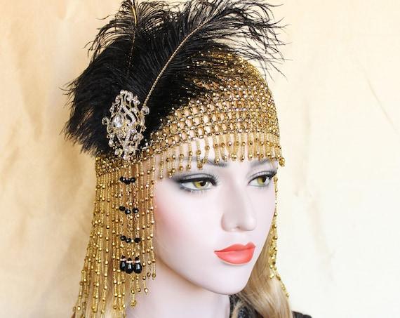 1920s Gatsby headpiece flapper headband Downton Abbey roaring 20s Dress Black Gold Beaded Cap Feather Flapper Art Deco Bachelorette party