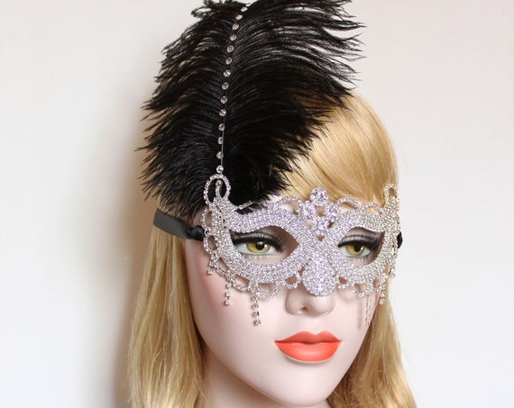 Crystal Masquerade Mask Ostrich Feather Mask fifty Shades Phantom Mardi Gras Boudoir Sexy Silver Rhinestone Mask Bachelorette Hen Party