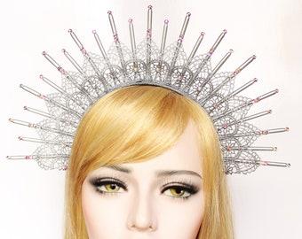 Silver Goddess Crown Lace Halo Headpiece Starburst Headdress Spike Headband Virgin Mary Bridal Crown Festival Burning Man Costume